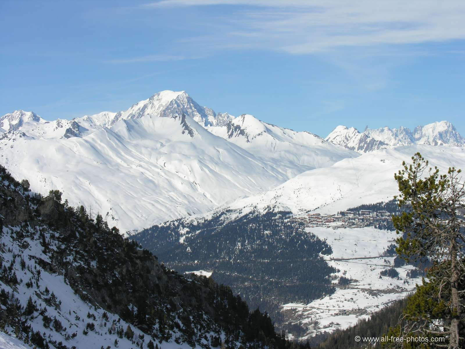 The Mont Blanc view from Les Arcs - France