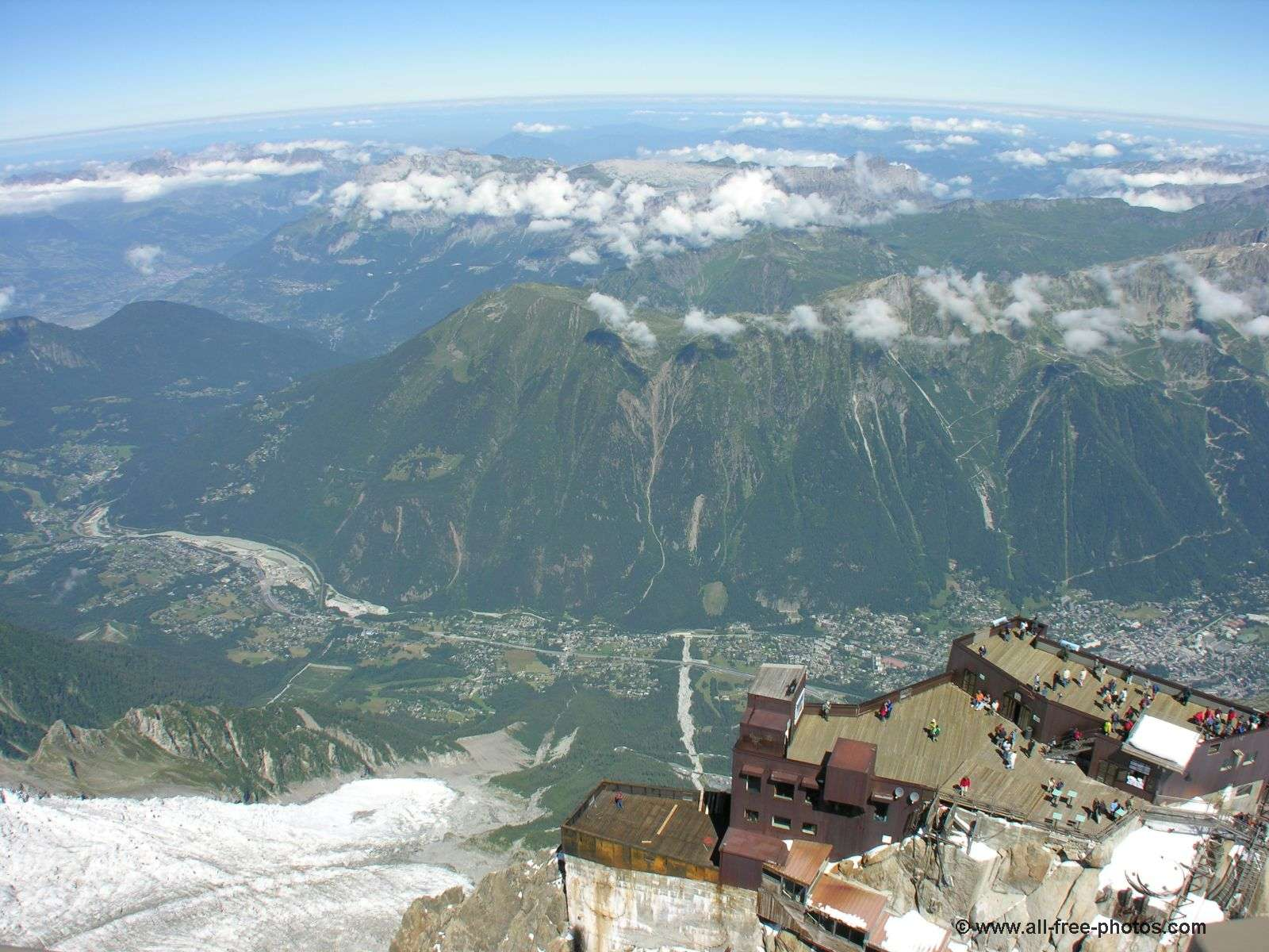 Aiguille du Midi - Lower platform and Chamonix valley - France