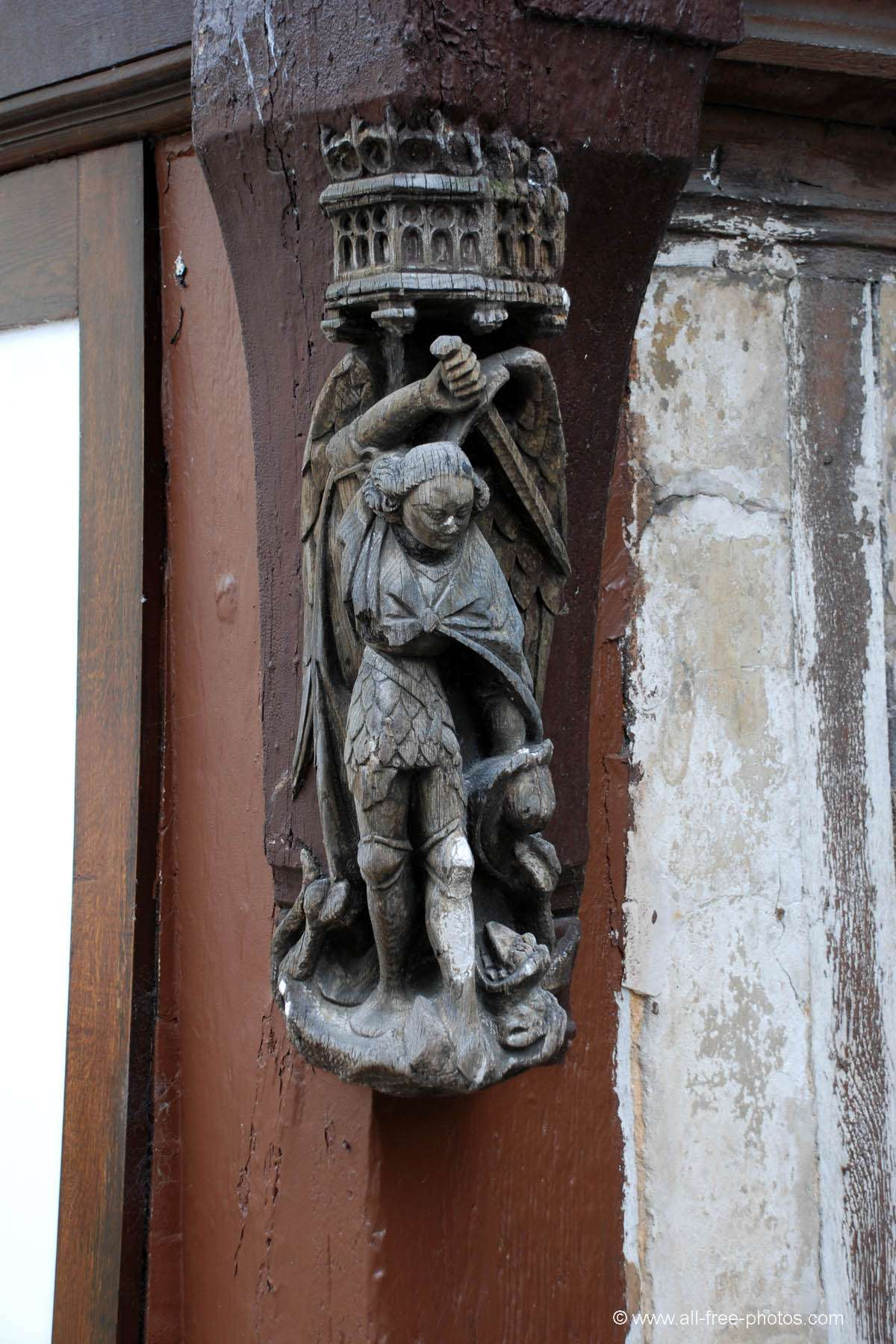 Sculpture of facade - La Bouille - France