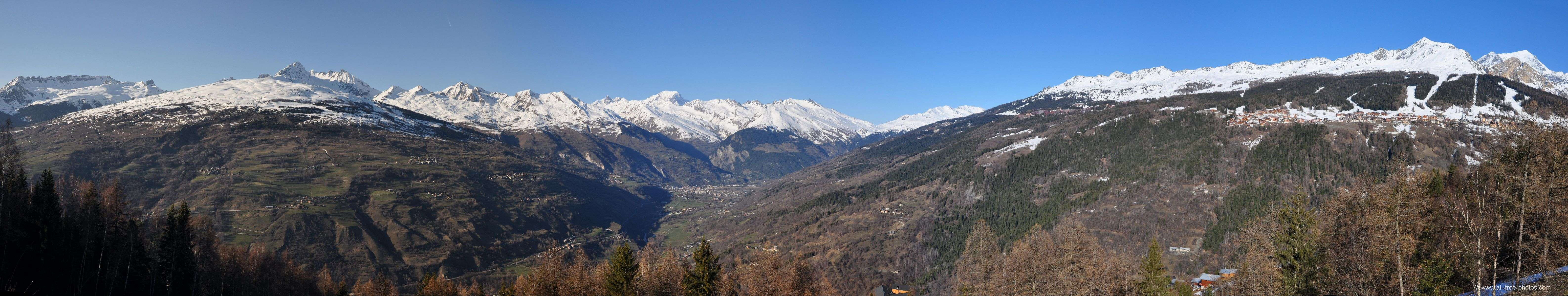 Mont Blanc, Valley of the Isere river and Les Arcs - France